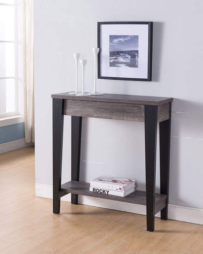 Wooden Console Table With Bottom Shelf, Black And Gray