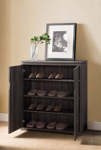 Wooden Shoe Cabinet With Spacious Storage Distressed Gray IDF-161832