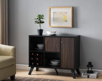 Wooden Wine Bar Storage Cabinet with 2 door cabinet and Storage Cubes, Black And Brown By Casagear Home