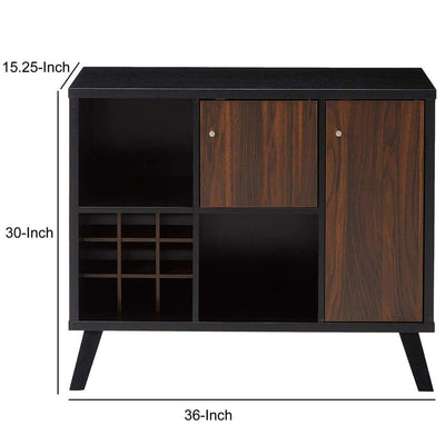 Spacious Wooden Buffet With Angled Legs Black And Dark Walnut Brown IDF-161856