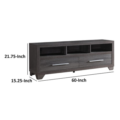 Wooden TV Stand with Two Drawers and Three Open Shelves Gray IDF-171916TV