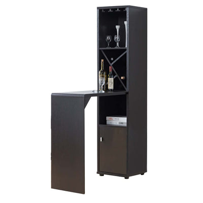Wooden Wine Cabinet with Spacious Storage and Bar Table, Red Cocoa Brown - 172170 By Casagear Home