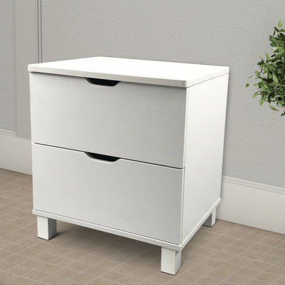 Contemporary Style White Nightstand With 2 Drawers On Metal Glides IDF-Y1103
