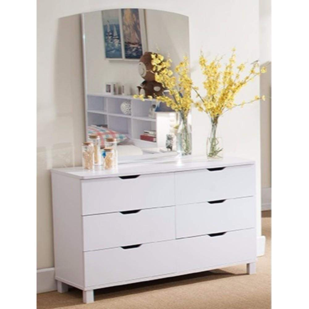 Spacious Glossy White Finish Dresser with 6 Drawers