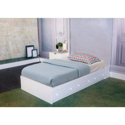 Luxurious Twin Size Chest Bed With 3 Storage Drawers, White Finish. - Benzara