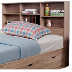 Contemporary Style Brown Twin Size Bookcase Headboard With 6 Shelves.