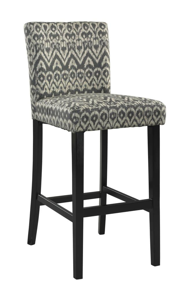 Wooden Bar Stool with Ikat Design Fabric Upholstery, Black and White