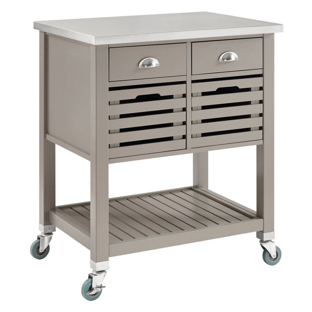 4 Drawer Wooden Kitchen Cart with Caster Wheels, Gray and Silver