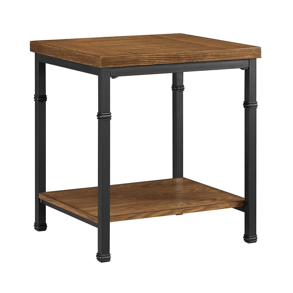 Wooden End Table with Open Bottom Shelf and Metal Legs, Brown and Black