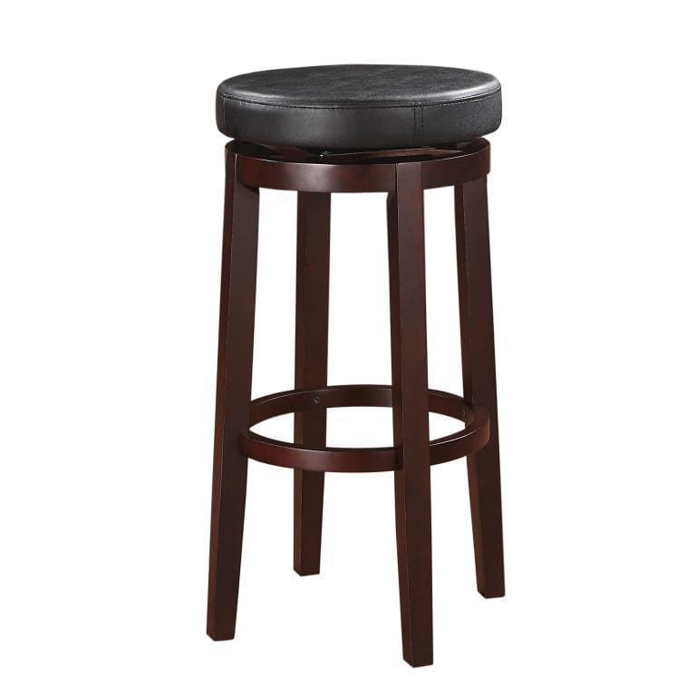 Fabric Upholstered Bar Stool with Slanted Legs, Brown and Black - 98353KBLK-01-KD