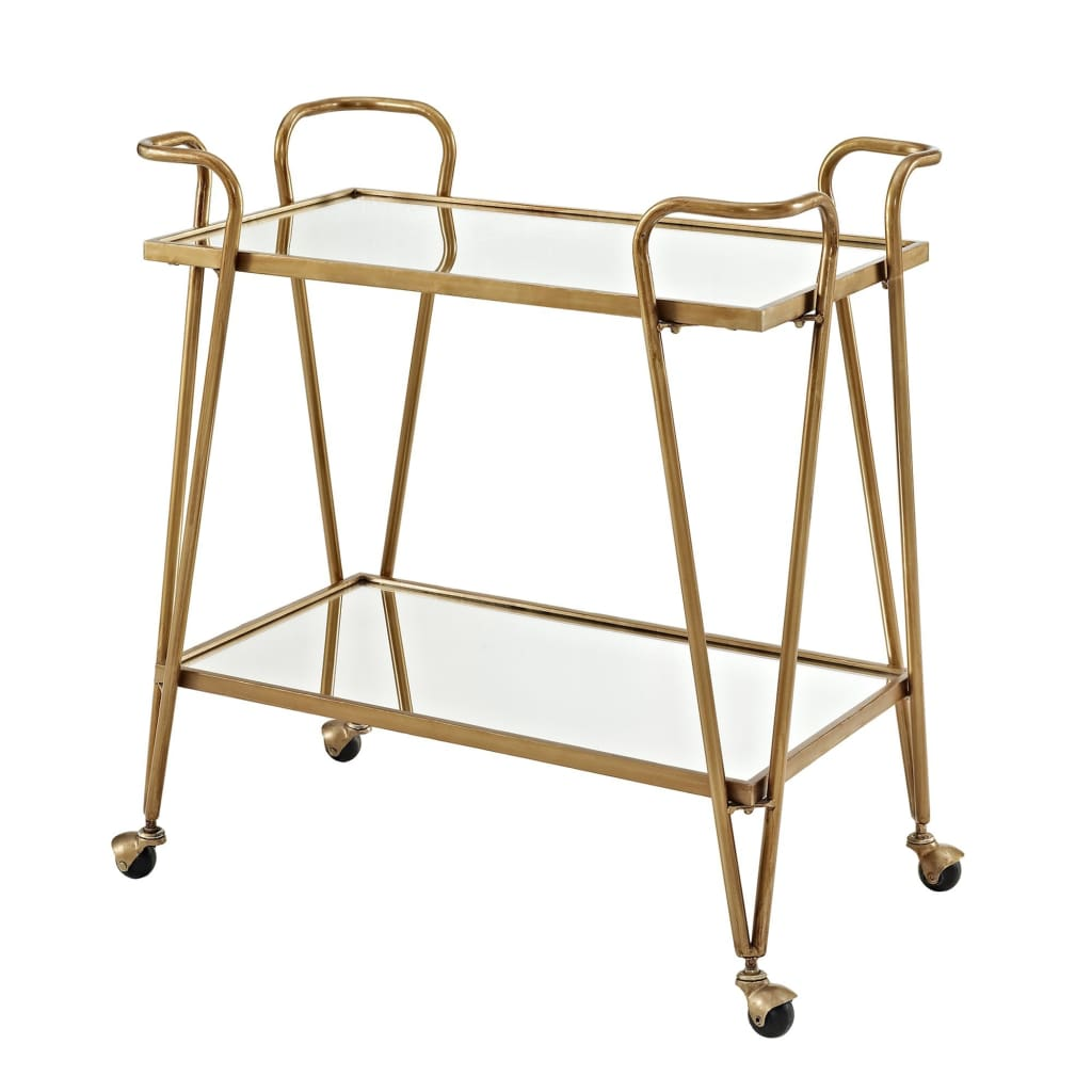 2 Tier Mirror and Metal Bar Cart with Hairpin Legs, Gold and Clear - AJUBAR4GLDKD01
