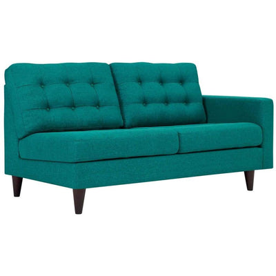 Empress Left Arm Upholstered Fabric Loveseat In Teal Blue