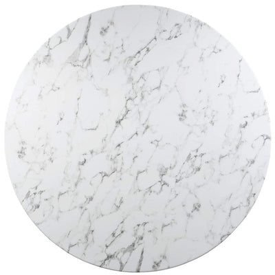 Lippa 60 Round Artificial Marble Dining Table White MDY-EEI-1133-WHI