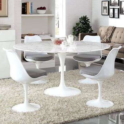 "Lippa 60"" Round Artificial Marble Dining Table, White"