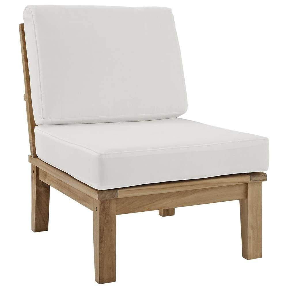 Natural White Marina Armless Outdoor Patio Teak Sofa