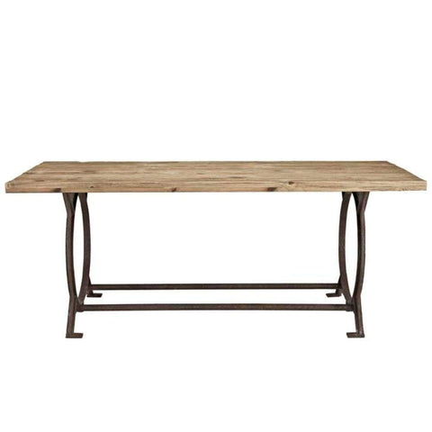 Effuse Rectangle Wood Top Dining Table, Brown