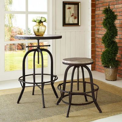 Collect Wood Top Bar Stool Brown