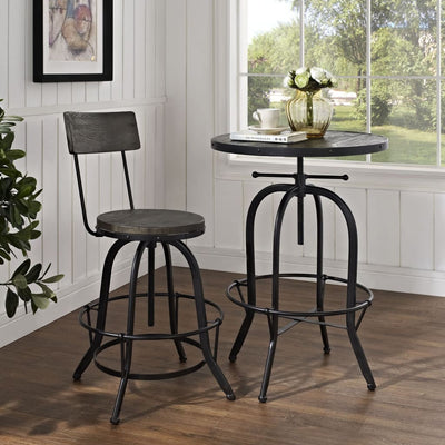 LexMod Procure Wood Black Bar Stool