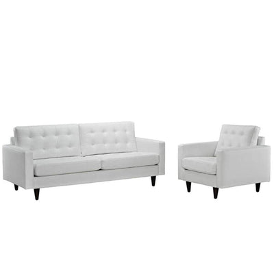 Empress Sofa and Armchair Set of 2, White
