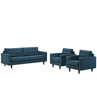 Empress Sofa And Armchairs Set Of 3, Azure