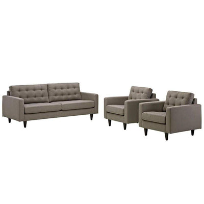 Empress Sofa and Armchairs Set of 3, Granite
