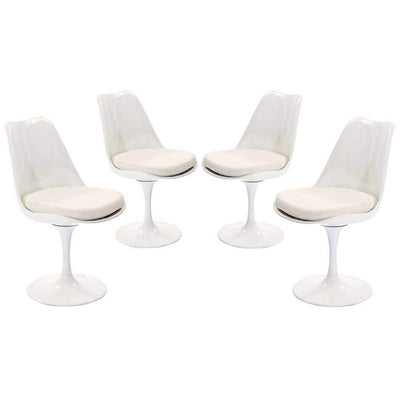 Lippa Dining Side Chair Fabric Set of 4, White