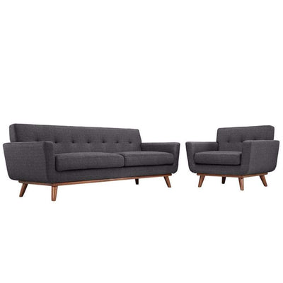 Engage Armchair and Sofa Set of 2, Gray