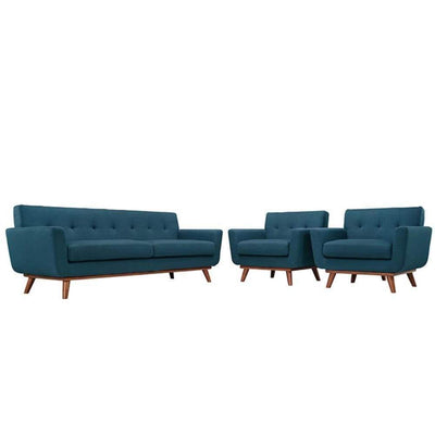 Engage Armchairs and Sofa Set of 3, Azure