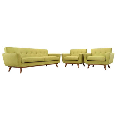 Engage Armchairs and Sofa Set of 3, Wheatgrass