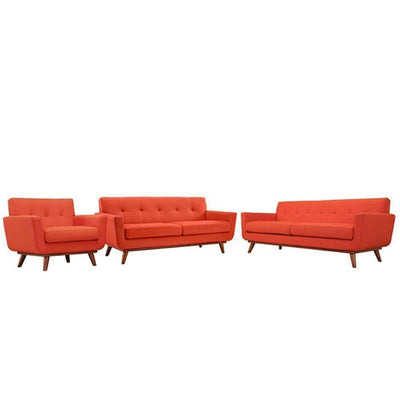Engage Sofa Loveseat and Armchair Set of 3, Atomic Red