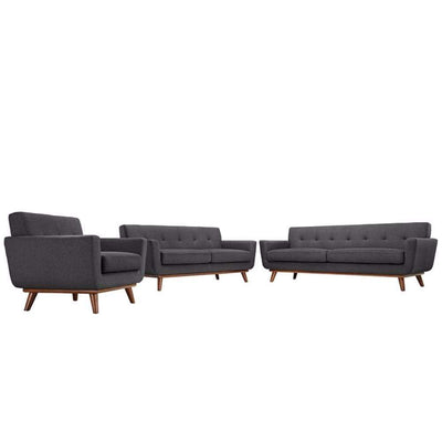 Engage Sofa Loveseat and Armchair Set of 3, Gray