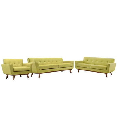 Engage Sofa Loveseat and Armchair Set of 3, Wheatgrass
