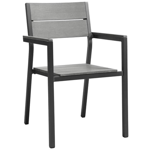 Brown Gray Maine Dining Outdoor Patio Armchair
