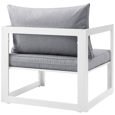 White Gray Fortuna Outdoor Patio Armchair MDY-EEI-1517-WHI-GRY
