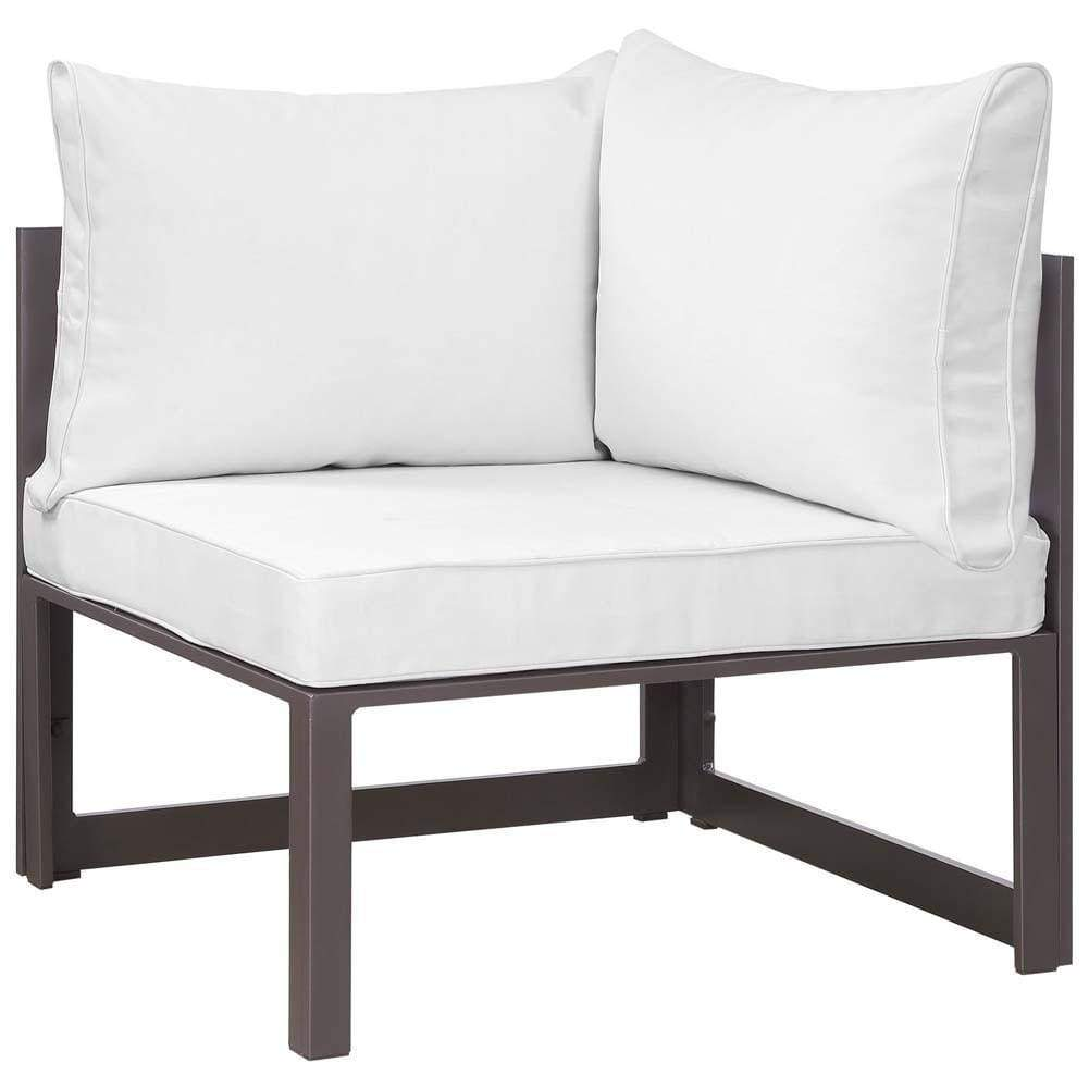 Brown White Fortuna Corner Outdoor Patio Armchair