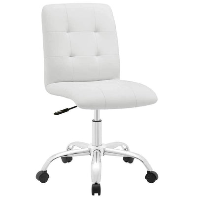 White Prim Armless Mid Back Office Chair