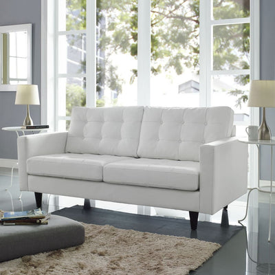 Empress Bonded Leather Loveseat, White