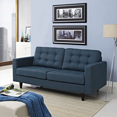 Empress Upholstered Loveseat, Azure