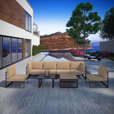 Fortuna 8 Piece Outdoor Patio Sectional Sofa Set , Brown Mocha