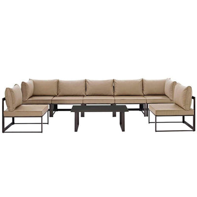 Fortuna 8 Piece Outdoor Patio Sectional Sofaset, Brown Mocha