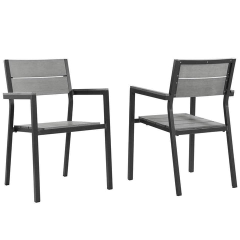 Brown Gray Maine Dining Armchair Outdoor Patio Set of 2