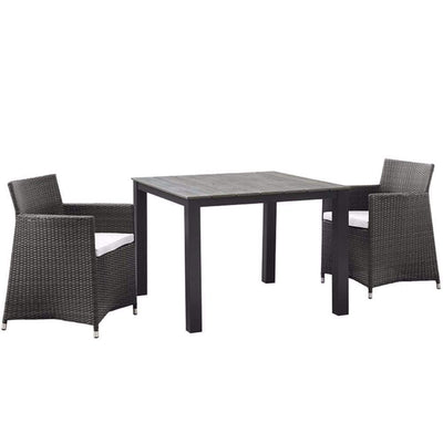 Junction 3 Piece Outdoor Patio Wicker Dining Set, Brown White