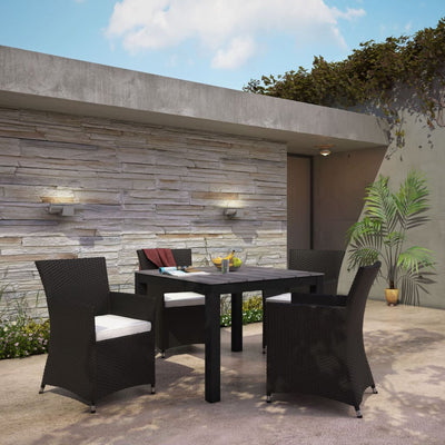 Junction 5 Piece Outdoor Patio Dining Set Brown White