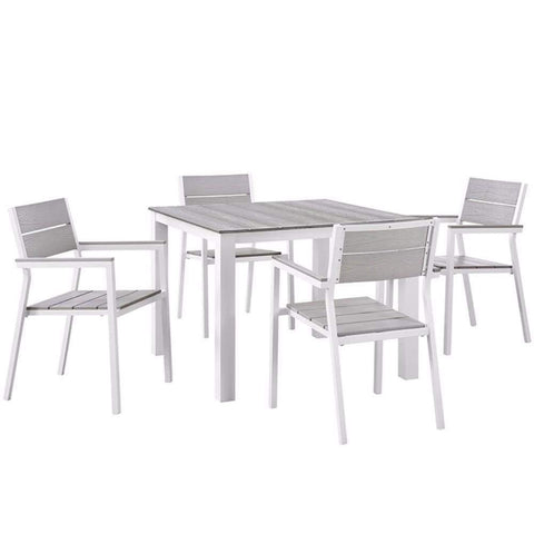 "Maine 5 Piece Outdoor Patio Dining Set, White Light Gray Size : 83.5""Lx83.5""Wx33""H"