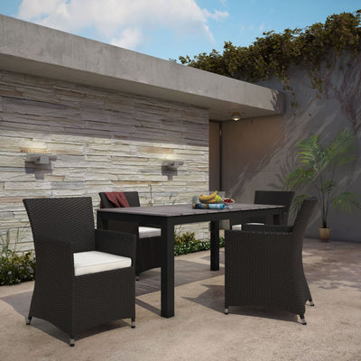 5 Piece Outdoor Patio Dining Set Brown White-EEI-1746-BRN-WHI-SET