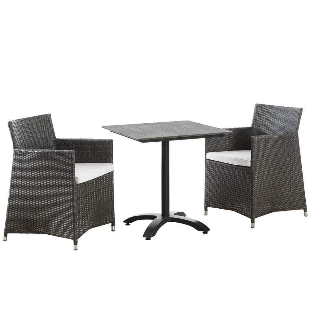 Brown White Junction 3 Piece Outdoor Patio Dining Set