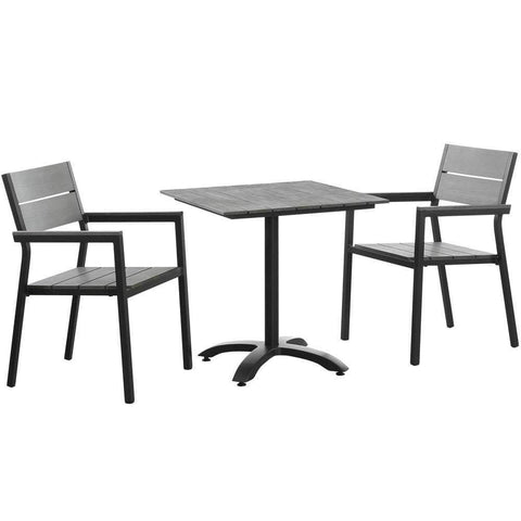 Brown Gray Maine 3 Piece Outdoor Patio Dining Set