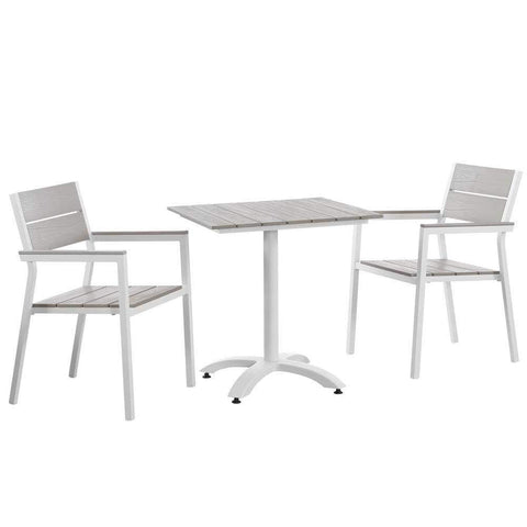 White Light Gray Maine 3 Piece Outdoor Patio Dining Set