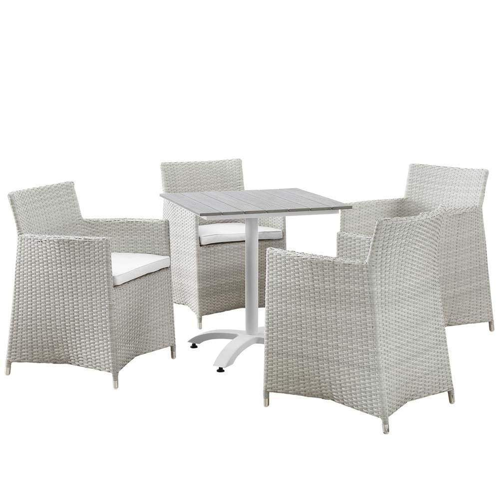 Gray White Junction 5 Piece Outdoor Patio Dining Set