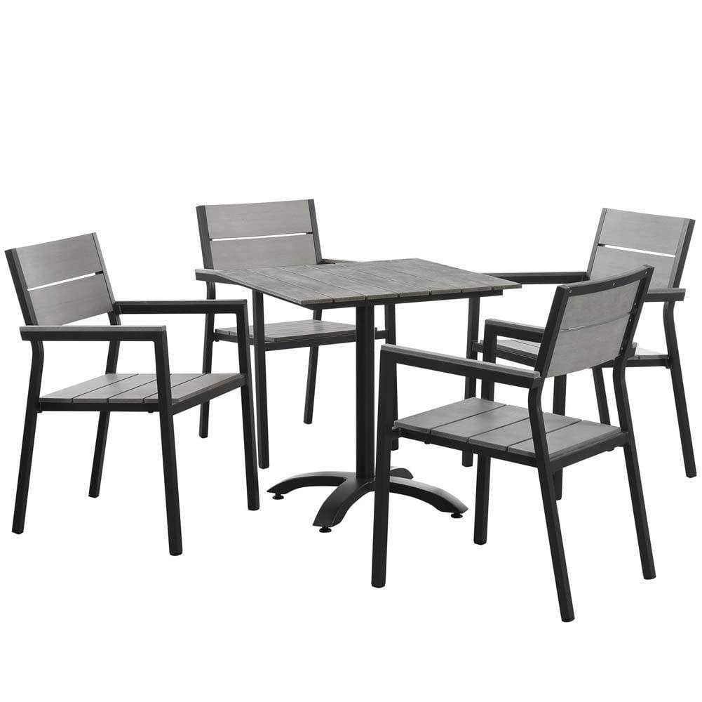 Brown Gray Maine 5 Piece Outdoor Patio Dining Set